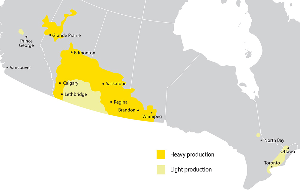 Map showing where canola is grown in Canada