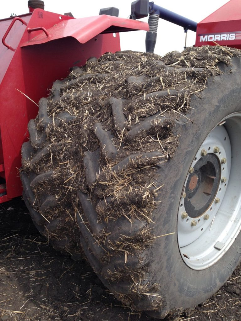 Soil on tires and equipment