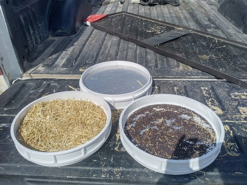 Sieves to separate chaff and straw from seed