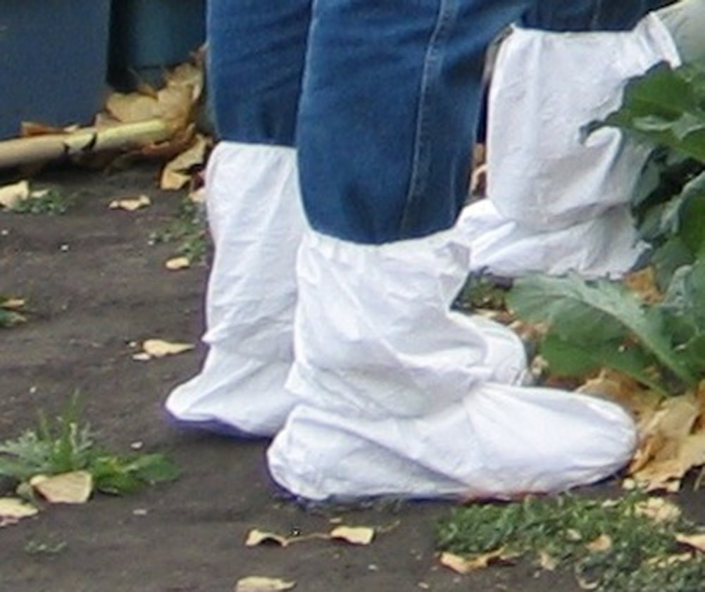 Booties to prevent spread of soil