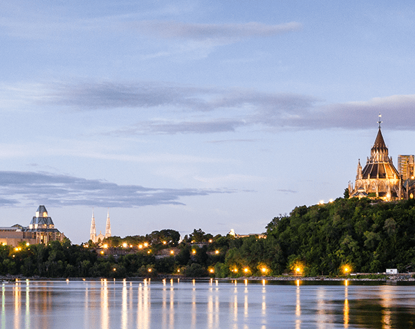 Exterior of Canadian parliament buildings in Ottawa