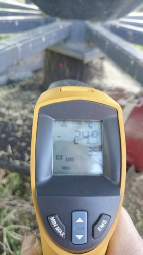 As turned grain was removed, its temperature was taken. Yes, that says -25°C.