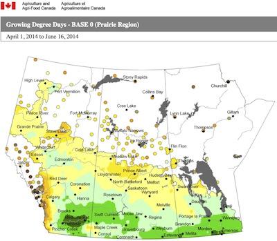 AAFC map_GDD base 0 April 1-June 16 2014