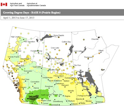 AAFC map_GDD base 0 April 1-June 17 2013