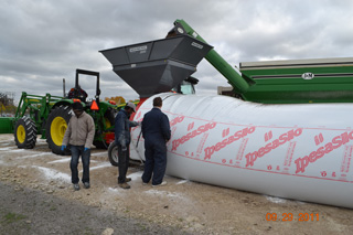 Bags are loaded for the University of Manitoba's canola bag storage study.