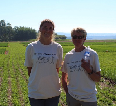 Staff at Beaverlodge Research Farm who help with UCC: Hannah Senft - Summer Student  (L); Irene Murray - Agronomy Technician (R). Missing - Trina Drummond - Summer Student