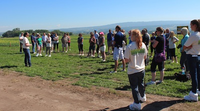 Jennifer Otani - Pest Management Biologist welcoming the group to Beaverlodge Research Farm.
