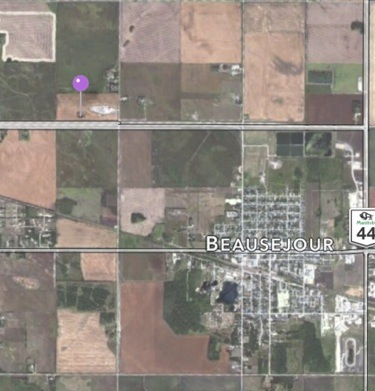 Location of CPS site in relation to Beausejour.