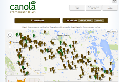 Canola performance trials screenshot