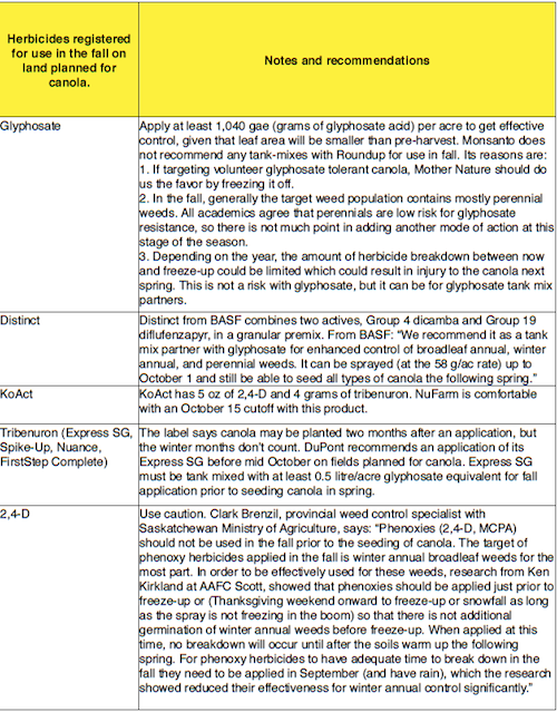 Fall herbicides ahead of canola page 1