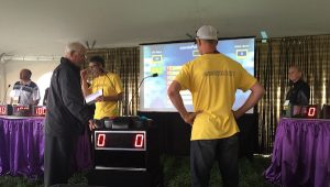 Keith Downey leads his All Star team to victory at canolaPALOOZA Family Feud.