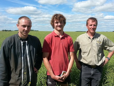 Franck Groeneweg on the right is the Edgeley grower managing the plots. The two other men are agriculture exchange students from France.