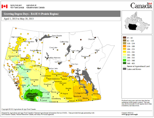 GDDs accumulated to May 20 across the Prairies. The dark green area leads with 368-403.