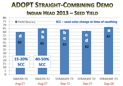 Indian Head Agricultural Reseach Farm results from a 2013 trial show higher yields with later cutting and straight combining. Source: Chris Holzapfel