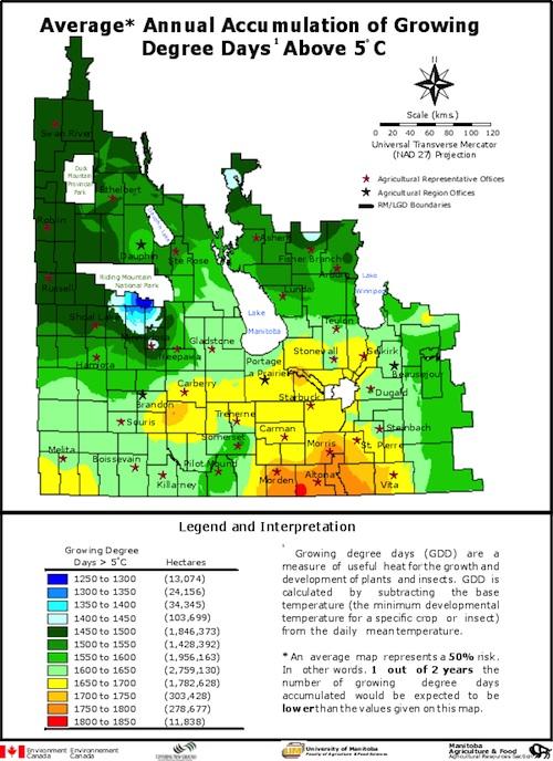 Manitoba growing degree days (base 5°C) map. Source: MAFRI