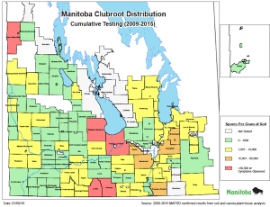 Manitoba clubroot map 2009-15