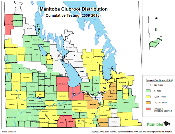 Clubroot Maps What Do They Tell You Canola Watch Free - Manitoba map