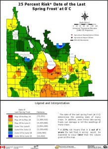 Manitoba spring frost risk map