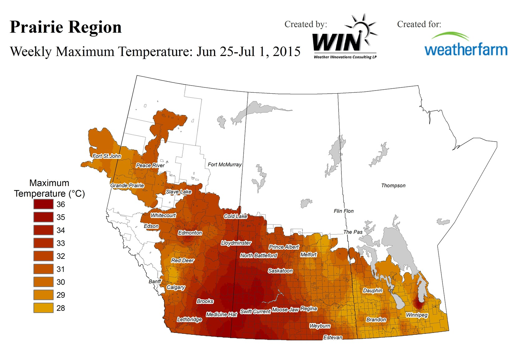 All parts of the Prairies had at least one day with a high of at least 28°C over the past week. Some areas were much hotter for days in a row.