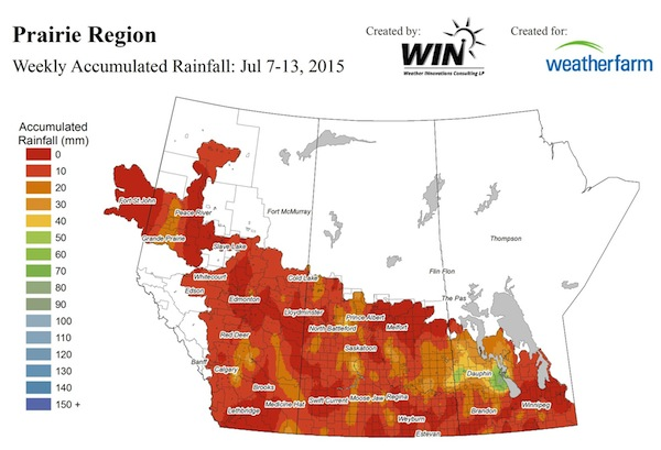 Some areas got over an inch of welcome rain in the past week. Source: Weather Innovations Network
