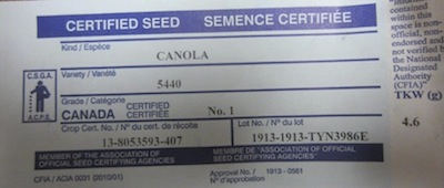 Seed bag tag of the 5440 InVigor canola, showing the TKW of 4.6 grams per thousand.  Seed was donated by Troy Basaraba of Bayer CropScience.
