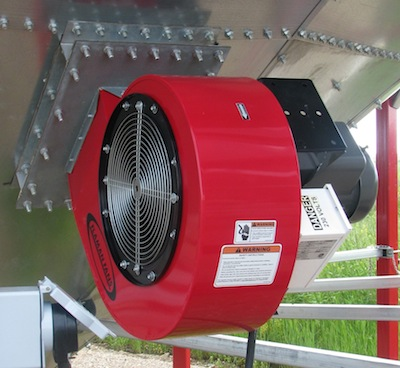 When using aeration to cool canola that is very dry, fans can be shut off during the day and turned on at night when air is cooler.