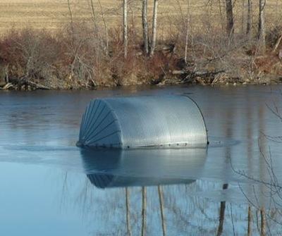 bin in river