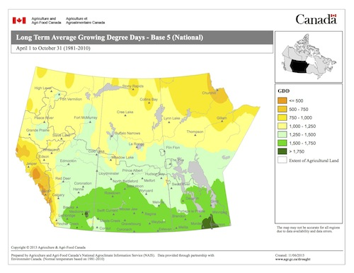 Average growing degree days (base 5°C) for the Prairies. Source: Agriculture and Agri-food Canada
