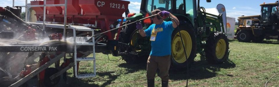 spraying farm equipment for clubroot spore sanitation