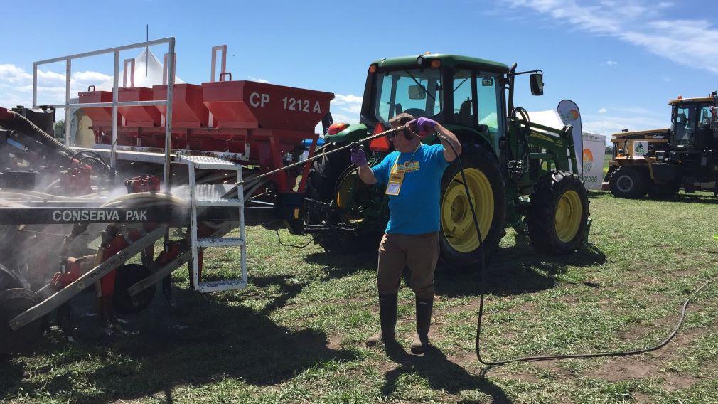 spraying farm equipment for clubroot spore sanitation